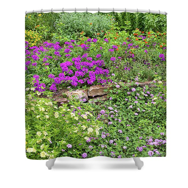 Close-up Of Various Lantana Flowers Shower Curtain