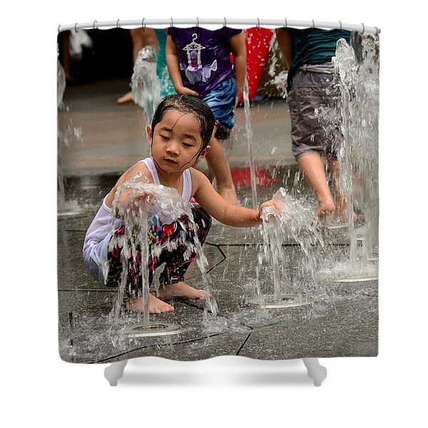 Clothed Children Play At Water Fountain Shower Curtain