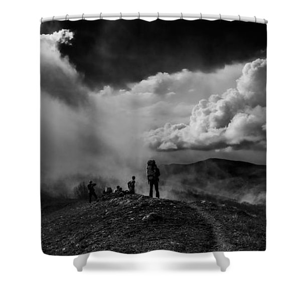 Cloud Factory Bw Shower Curtain