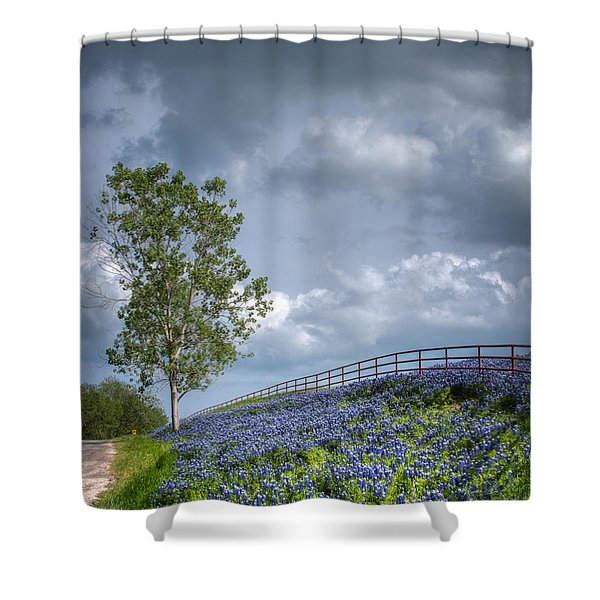 Clouds And Bluebonnets Shower Curtain
