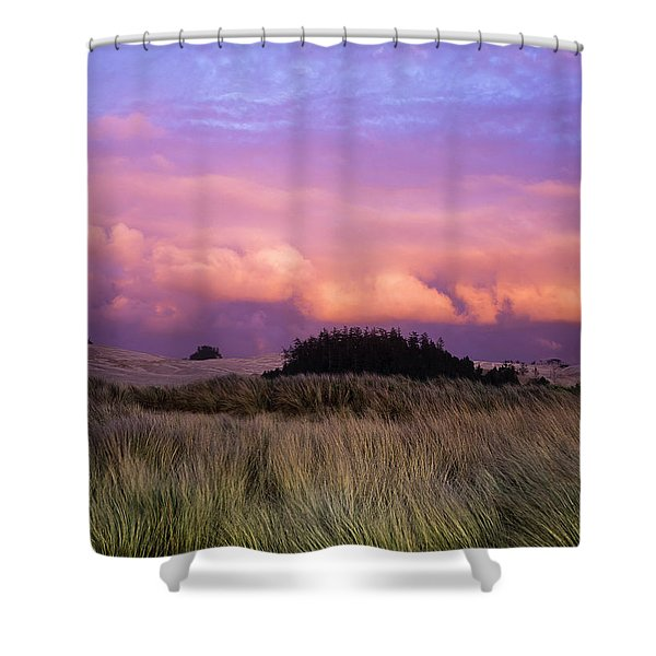 Clouds Catch Light From The Setting Sun Shower Curtain