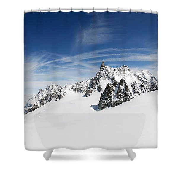 Clouds Over A Snow Covered Mountain Shower Curtain