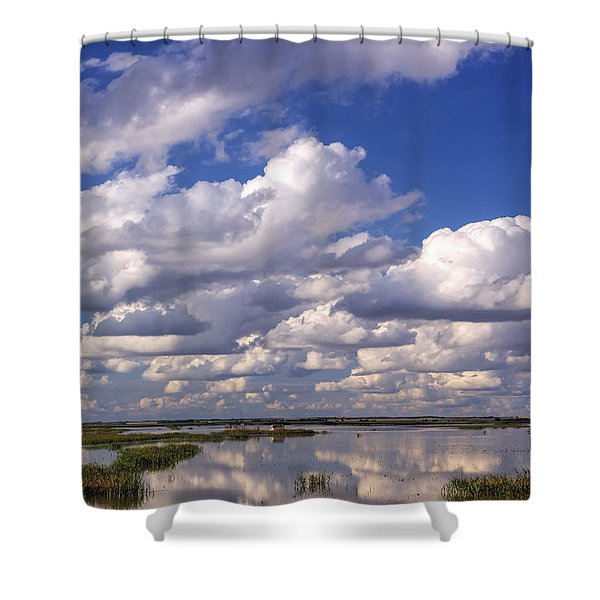 Clouds Over Cheyenne Bottoms Shower Curtain