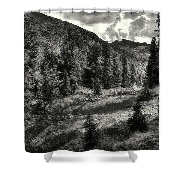 Clouds Over The Mountainscape Shower Curtain
