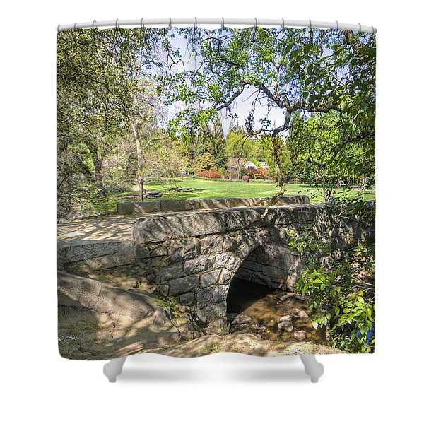 Clover Valley Park Bridge Shower Curtain