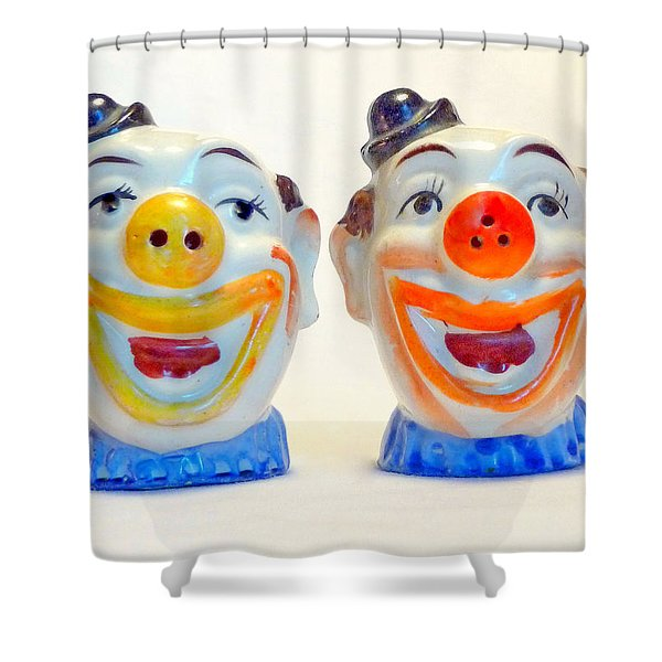 Vintage Clown Salt And Pepper Shakers Shower Curtain