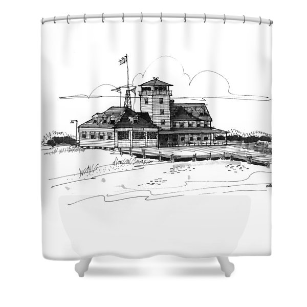 Coast Guard Station 2 Ocracoke 1970s Shower Curtain