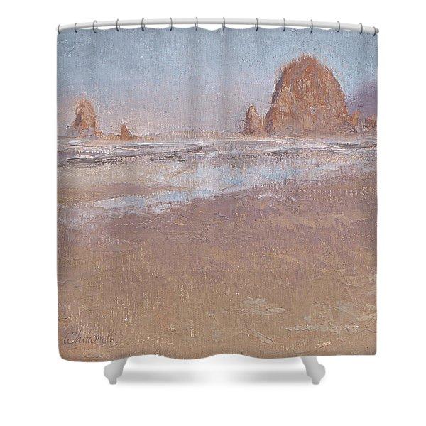 Coastal Escape  Cannon Beach Oregon And Haystack Rock  Shower Curtain