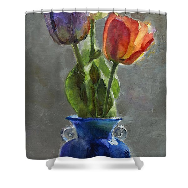 Cobalt And Tulips Still Life Painting Shower Curtain