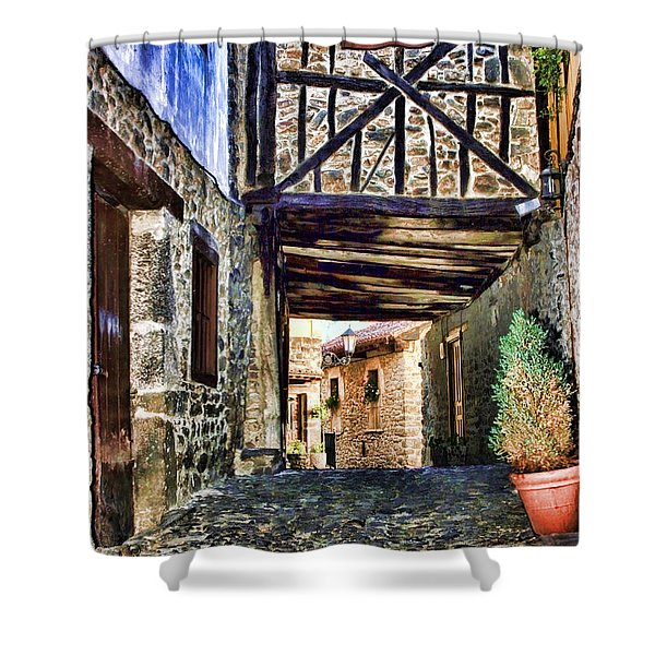 Cobble Streets Of Potes Spain By Diana Sainz Shower Curtain