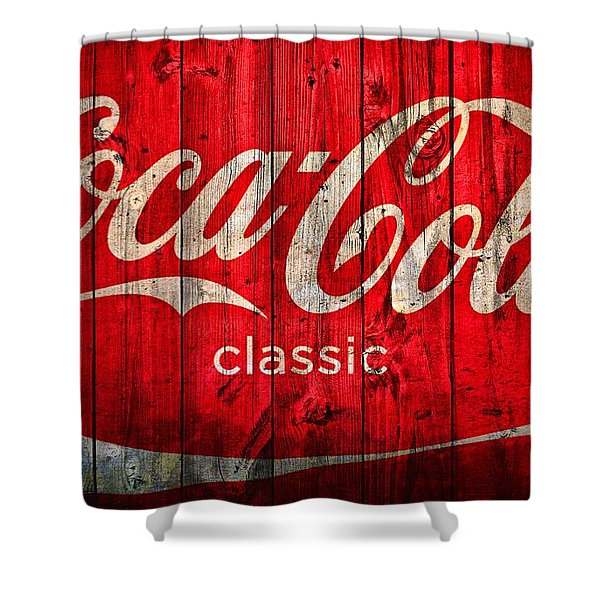 Coca Cola Barn Shower Curtain