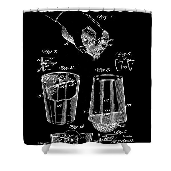 Cocktail Mixer And Strainer Patent 1902 - Black Shower Curtain