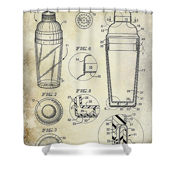 Cocktail Shaker Patent Drawing Shower Curtain