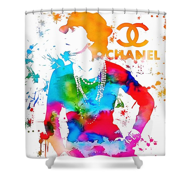 Coco Chanel Paint Splatter Shower Curtain