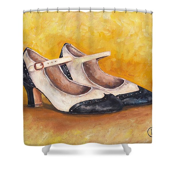 Pair Of 1920s Flappers Heels Mary Janes Shower Curtain
