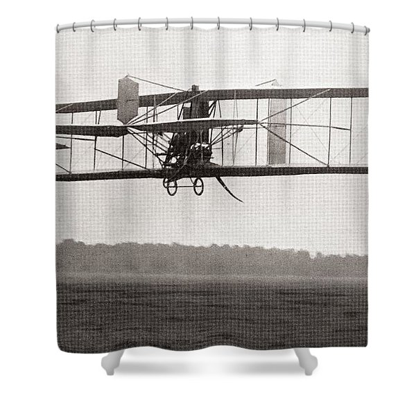 Codys Biplane In The Air In 1909 Shower Curtain