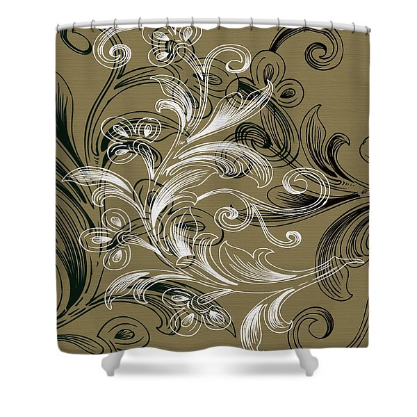 Coffee Flowers 4 Olive Shower Curtain