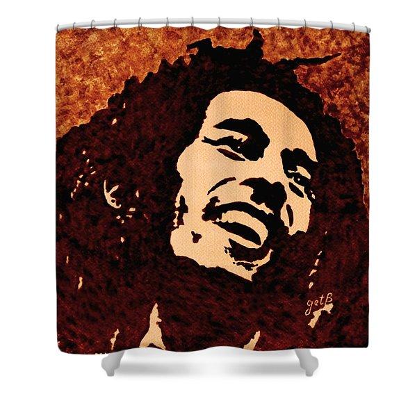 Coffee Painting Bob Marley Shower Curtain