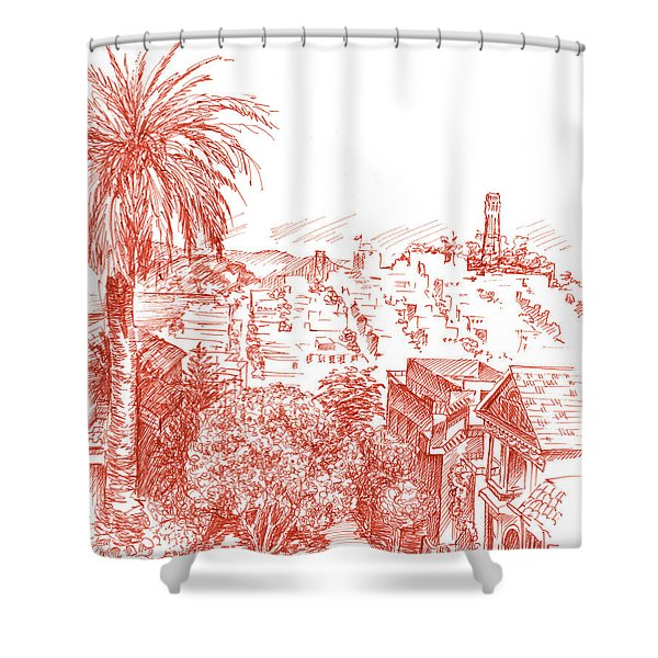 Coit Tower View From Russian Hill San Francisco Shower Curtain