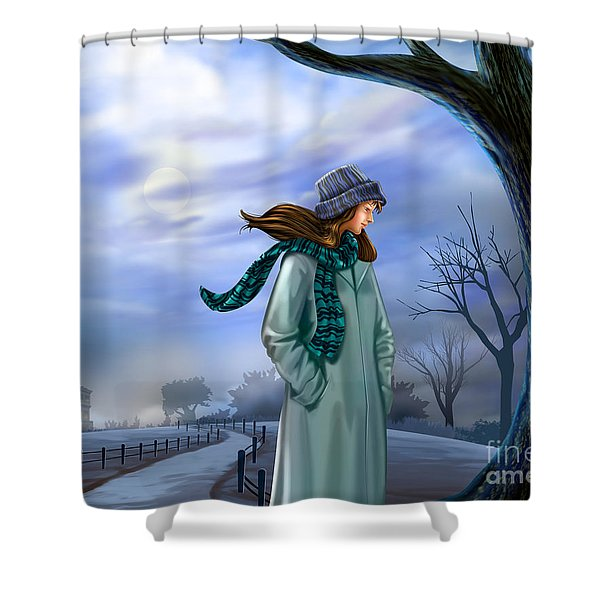 Cold Winter Warm Thoughts Shower Curtain