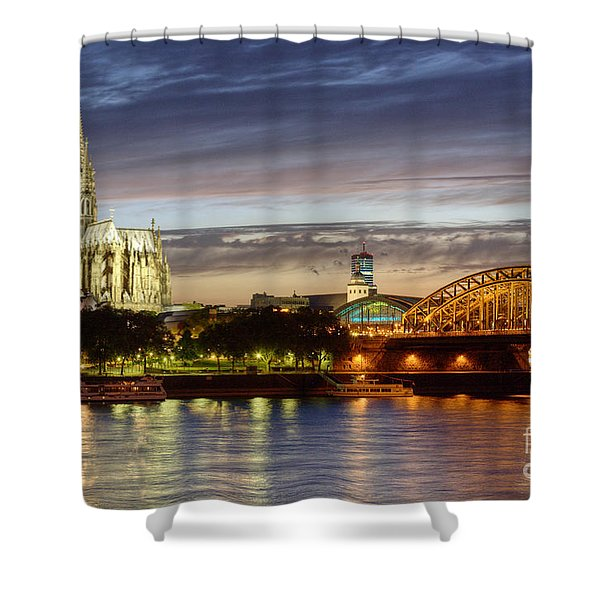Cologne Cathedral With Rhine Riverside Shower Curtain