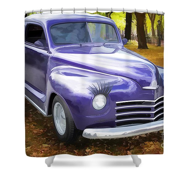 Color Painting Of A Complete 1948 Plymouth Classic Car 3389.02 Shower Curtain