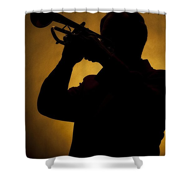 Color Silhouette Of Trumpet Player 3019.02 Shower Curtain