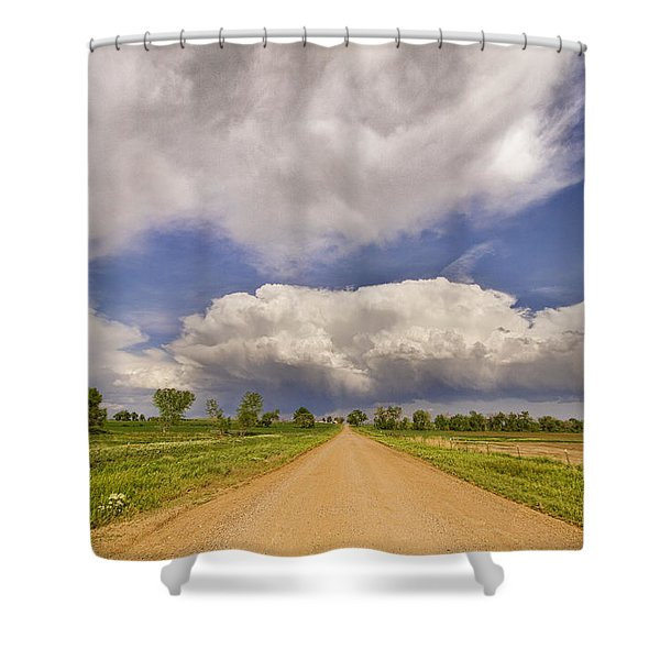 Colorado Country Road Stormin Skies Shower Curtain