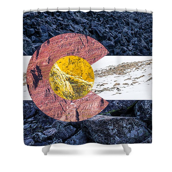 Colorado State Flag With Mountain Textures Shower Curtain