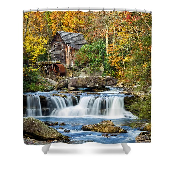 Colorful Autumn Grist Mill Shower Curtain