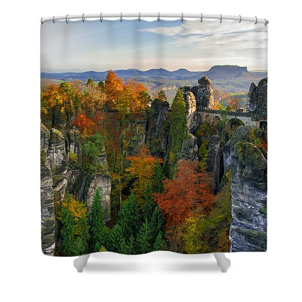 Colorful Bastei Bridge In The Saxon Switzerland Shower Curtain
