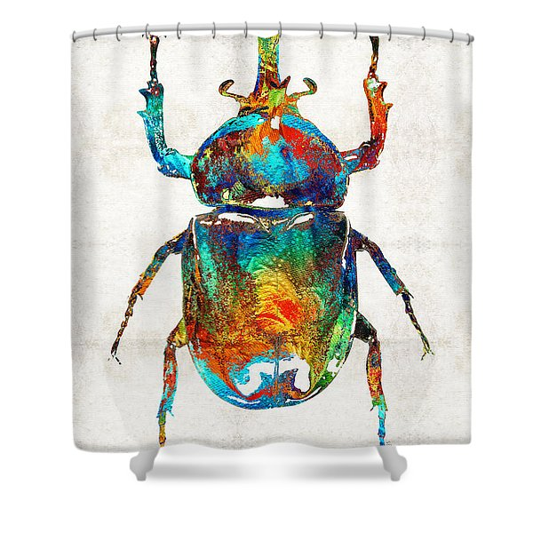 Colorful Beetle Art - Scarab Beauty - By Sharon Cummings Shower Curtain