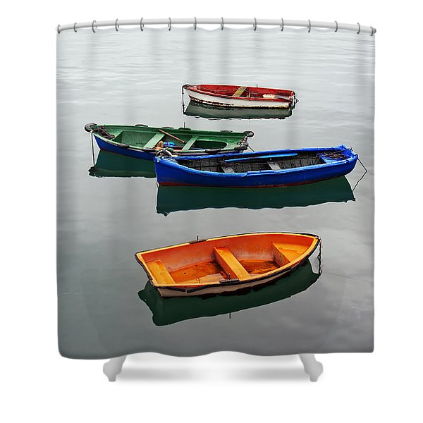 colorful boats on Santurtzi Shower Curtain