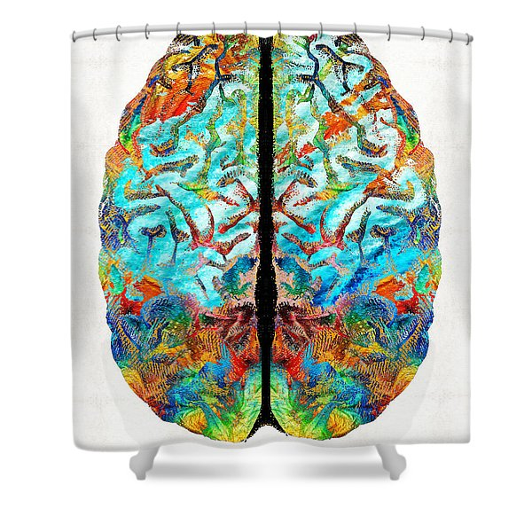 Colorful Brain Art - Just Think - By Sharon Cummings Shower Curtain