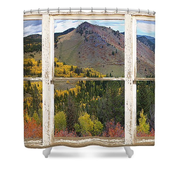 Colorful Colorado Rustic Window View Shower Curtain