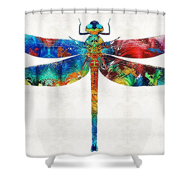 Colorful Dragonfly Art By Sharon Cummings Shower Curtain