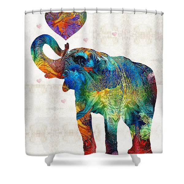 Colorful Elephant Art - Elovephant - By Sharon Cummings Shower Curtain