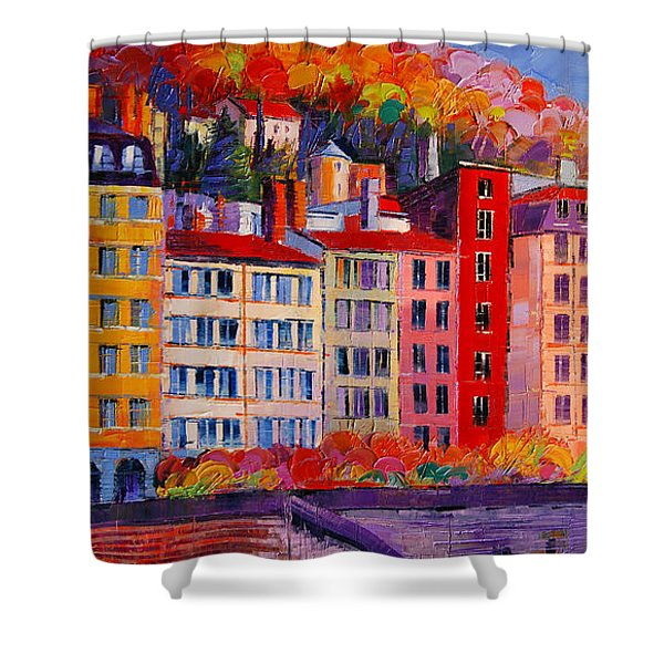 Colorful Facades On The Banks Of Saone - Lyon France Shower Curtain