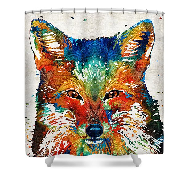 Colorful Fox Art - Foxi - By Sharon Cummings Shower Curtain