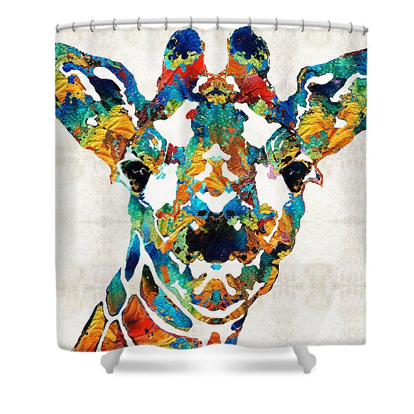 Colorful Giraffe Art - Curious - By Sharon Cummings Shower Curtain