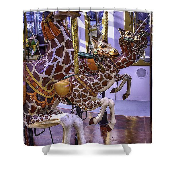 Colorful Giraffes Carrousel Shower Curtain