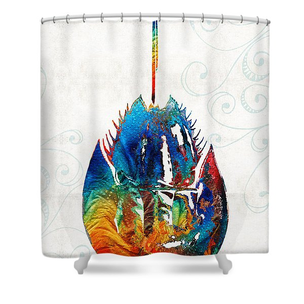 Colorful Horseshoe Crab Art By Sharon Cummings Shower Curtain