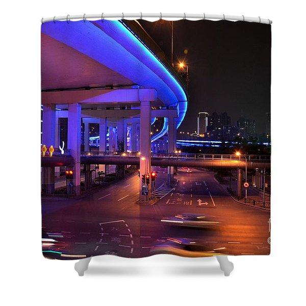 Colorful Night Traffic Scene In Shanghai China Shower Curtain