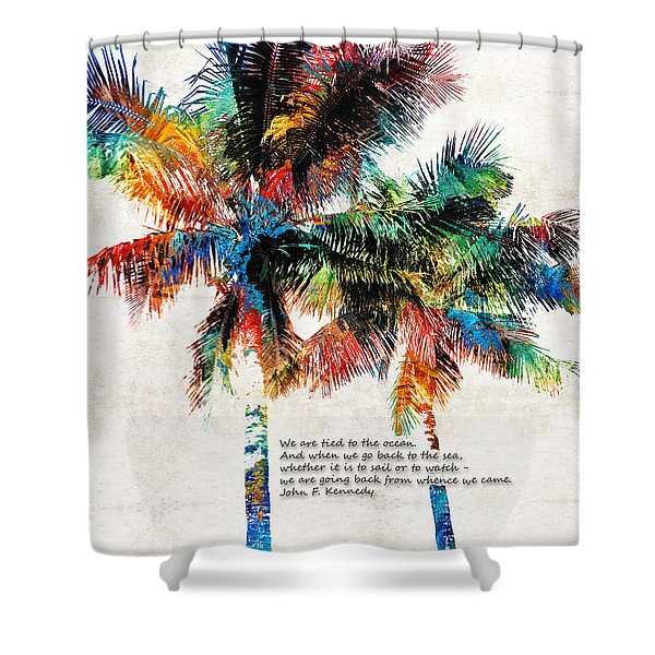 Colorful Palm Trees - Returning Home - By Sharon Cummings Shower Curtain