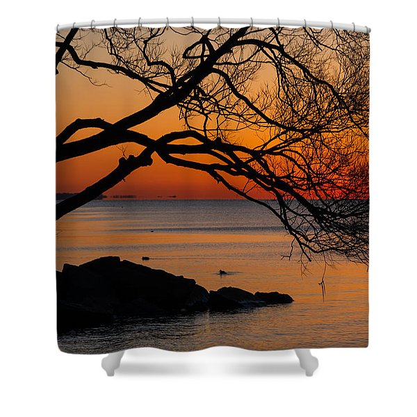 Colorful Quiet Sunrise On Lake Ontario In Toronto Shower Curtain