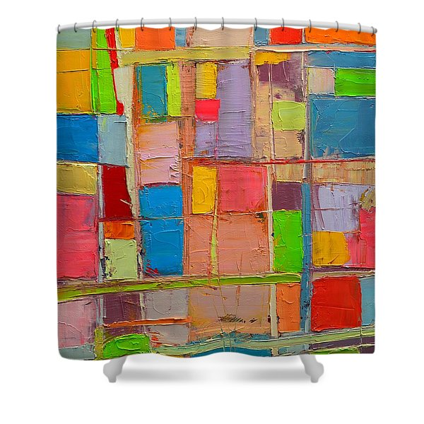 Colorful Spring Mood - Abstract Expressionist Composition Shower Curtain