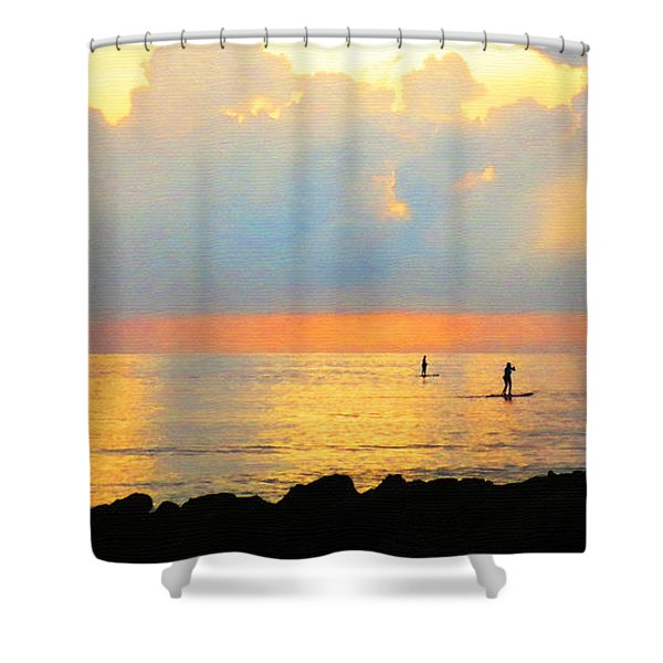 Colorful Sunset Art - Embracing Life - By Sharon Cummings Shower Curtain