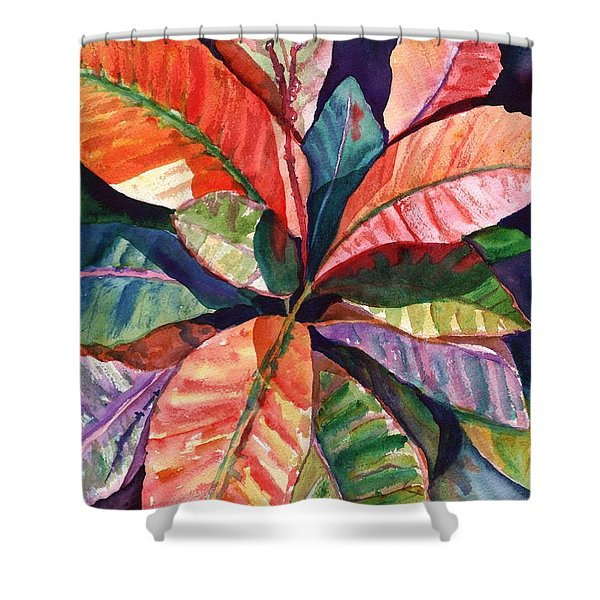 Colorful Tropical Leaves 1 Shower Curtain
