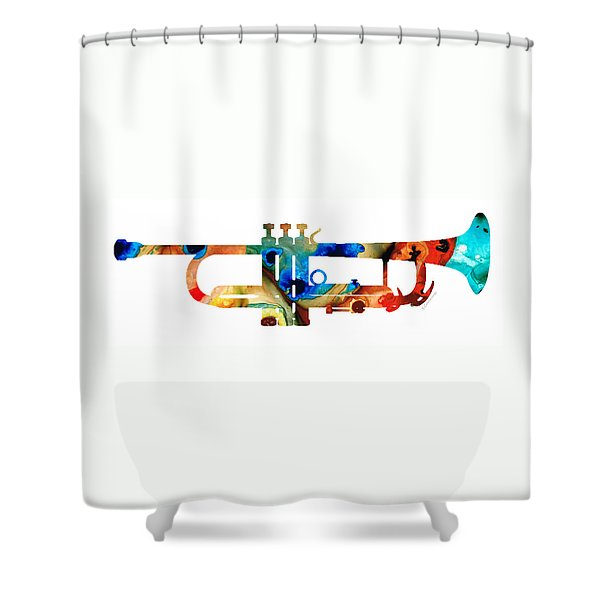 Colorful Trumpet Art By Sharon Cummings Shower Curtain