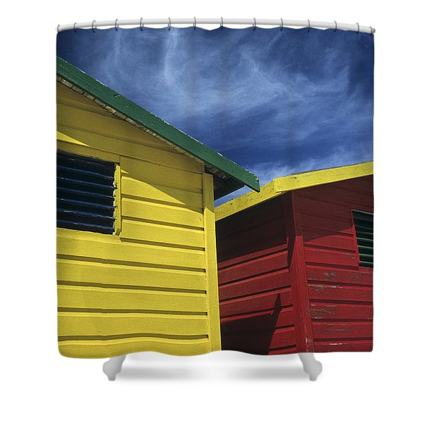Coloured Beach Huts Shower Curtain